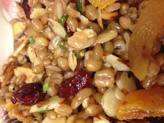 Sesame Wheatberry Salad with Dried Cranberry and Apricots, Toasted Sliced Almonds, and Green Onions