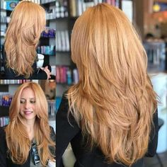Strawberry Blonde hair color for long hair - Lange Haare Ideen Long Curly Hair, Curly Hair Styles, Thick Long Hair, Long Hair V Cut, Strawberry Blonde Hair Color, Strawberry Blonde Hairstyles, Long Layered Haircuts, Layered Hairstyles, Long Hair Short Layers