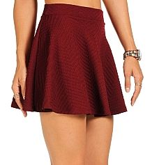 Burgundy Textured Skater Skirt