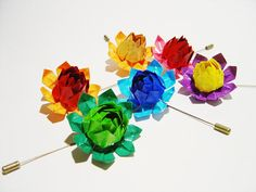 Multicolor Origami Lotus Flower Brooch Medium by paperinthepocket, $14