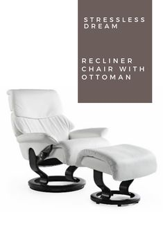 Stressless Dream offers soft cushioning to cradle you in comfort while its telescoping headrest allows for higher head support. Luxury Home Furniture, Furniture For You, Furniture Design, Recliner, Ottoman, Cushions, Chair, Home Decor, Throw Pillows