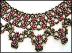 Kronleuchterjuwelen Glasperlenschmuck - Netzkette brokat-magenta
