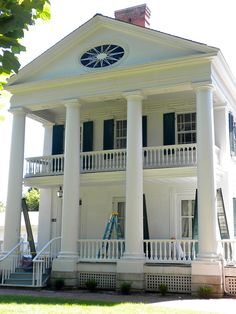 The John Wood Mansion was built between 1835 & 1838 by John Wood, who in 1860 became the 12th governor of Illinois. The Wood family moved into the Greek Revival home situated at 12th & State Streets in Quincy, Illinois from an unusual two-story log cabin in 1837. Wood founded both the county (1825) & city (1835). Wood's 14-room mansion was built by John Cleaveland and endured a move from its original site to its current location, about a block east, so Wood could build an even larger mansion.