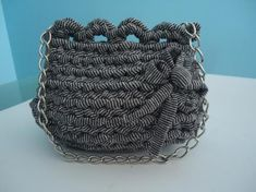 bolso de trapillo en negro con brillo  trapillo crochet