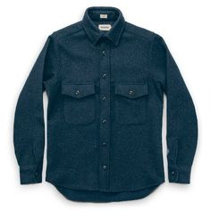 Taylor Stitch Maritime Shirt Jacket in Navy lambs wool