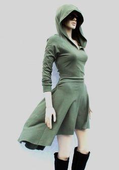 This High Low Hoodie Dress Is Almost A Cosplay | EEEEEEEEEEEEEEE!!!  (Olive Green, Medium.  $99)