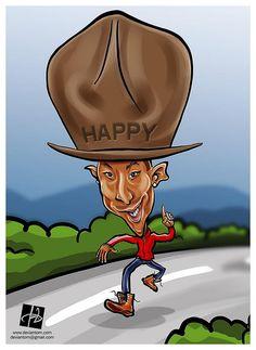 #Pharrell #Williams #Happy #Caricature by Tomislav Zvonaric - Deviantom 2014 all rights reserved @Tomislav Zvonarić @tomajestic