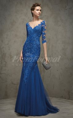 Charming Royal Blue Lace,Tulle Sweep Train Prom Dresses (PRJT04-1485)