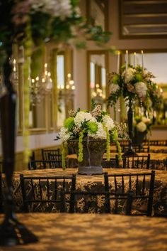 Cascading White and Green Hydrangea and Spider Flower Wedding Centerpiece in Dark Bronze Vase on Embroidered Gold Tablecloths Tablecloths, Enchanted Garden Wedding, Green Hydrangea, Country Club Wedding, Emerald Green, Apple Blossoms, Wedding Centerpieces, Wedding Flowers, Wedding