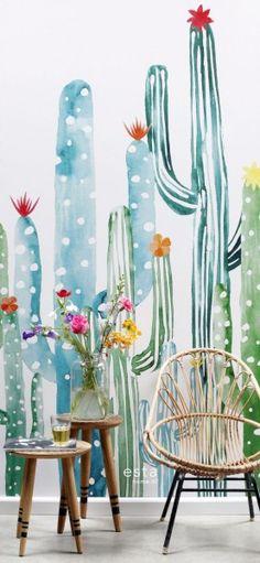 mural intissé cactus à fleurs peint à l'aquarelle vert jungle tropicale et turquoise