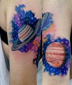 Saturn and Jupiter. Done by Vicente López at Tatudemia studio. (Guadalajara, México)