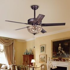 The Doretta ceiling fan is a simple and elegant styled ceiling fan with light assembly. The finish of this ceiling fan combines to give your space a warm, traditional feeling. Features: Crystal ceilin