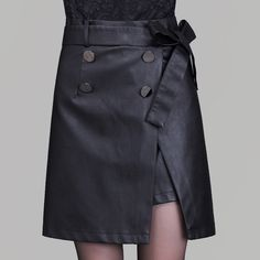 2016 autumn and winter new fashion Women PU Faux leather skirt split women hign waist black A-line mini skirts Double-breasted