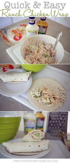 A Sorta Fairytale: Easy Ranch Chicken Wrap Recipe Lunch Recipes, Cooking Recipes, Healthy Recipes, Easy Recipes, Diet Recipes, Ranch Chicken Wrap, Asian Chicken, Beste Burger, Little Lunch