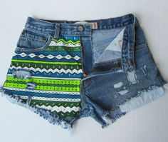 High waisted jean shorts neon Aztec hand painted  Levi cut offs. $52.00, via Etsy.