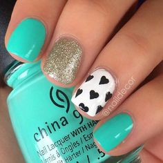 Teal gold gliter black and white heart nails