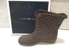 Karen Scott Lonnie Boots Booties Shoes Womens Size 10M Fashion Mid Calf Brown