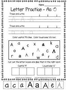 Free Alphabet letter practice. Try this sample - trace, write, color, cut, and sort letters of the alphabet. Perfect for little learners who are learning their abc's! #alphabet #kindergarten #preschool #teacher #teach