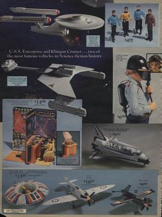 Vintage Star Trek toys displayed in a catalog 1970s Toys, Retro Toys, Vintage Toys, Vintage Space, Science Fiction, Mad Science, Star Trek Toys, Star Trek Merchandise, Toy Catalogs
