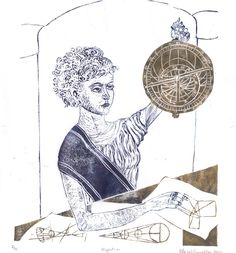 New to minouette on Etsy: Linocut History of Math and Astronomy - Hypatia - Ancient Classical Woman Mathematician Lino Block Portrait Woman in STEM Hypatia (35.00 USD)