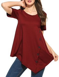 c06ba35d2b26d Finejo Women s Casual Short Sleeve Round Neck Irregular Hem Asymmetrical  Loose Tunic Tops at Women s Clothing store