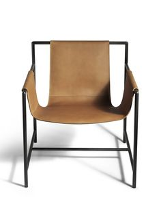 Tanned leather easy chair with armrests MING'S HEART By Poltrona Frau design Shi-Chieh Lu
