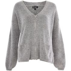 Topshop Super Soft Cardigan With Ring Puller Zip (143.600 COP) ❤ liked on Polyvore featuring tops, cardigans, sweaters, topshop, grey marl, topshop shirts, zip cardigan, grey shirt, topshop cardigan and zip shirt
