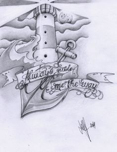 "lighthouse + anchor. ""always guide me the way."" I really want one like this for my mom"