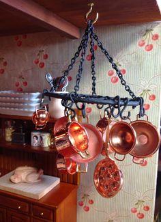 Jocelyn's Mountfield Dollhouse: DIY Hanging Metal Pot Rack