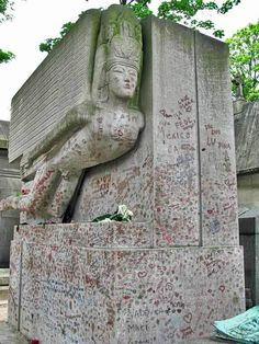 Oscar Wilde's grave. Père Lachaise Cemetery, Paris. Photo by Andy Hay
