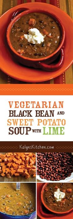 This Vegetarian Black Bean and Sweet Potato Soup with Lime is healthy comfort food! [found on KalynsKitchen.com]
