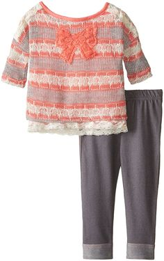 Little Lass Baby Girls' 2 Piece Legging Set Sweater Knit Gold Lurex -- Trust me, this is great! Click the image. : Baby clothes
