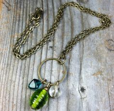 Celebration Necklace ( antique brass / gold chain, charm pendant, lime green, turquoise teal, bohemian gypsy) by MySoulCanDance on Etsy