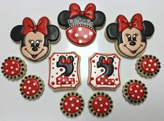 Minnie Mouse Decorated Sugar Cookies by I Am the Cookie Lady Minnie Mouse Cookies, Minnie Mouse Party, Girl Birthday, Birthday Parties, Sugar Cookies, Numbers, Party Ideas, Characters, Lady