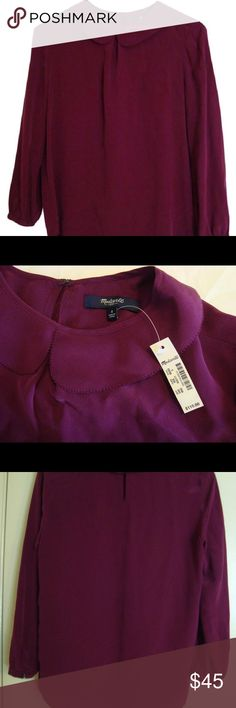 MADEWELL || Magenta Pink Silk Collar Blouse MADEWELL || Magenta Pink Silk Peter Pan Collar Blouse  Condition: Excellent New Condition  Size: S  100% Silk, RN 77388, Style 09283  Features: Hook Eye Closure, Peter Pan Collar, Sleeves: Single Button Closure, New With Tag  No trades. Offers welcome. Madewell Tops Blouses