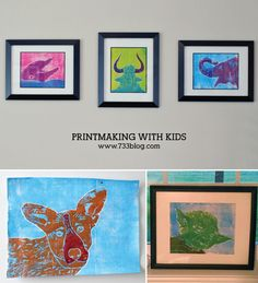 Printmaking art project idea for kids - framed pieces make great gifts