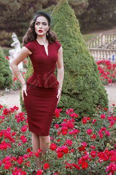 Vintage Chic - 50s Karen Peplum Pencil Dress in Burgundy #IddaVonMunster