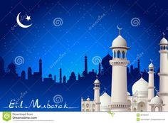Illustration about Illustration of eid mubarak card with mosque in night view. Images Eid Mubarak, Happy Eid Mubarak, Worship Backgrounds, Church Backgrounds, Wallpaper Ramadhan, Conception D'applications, Eid Al Adha Greetings, Ramadan Poster, Islamic Wallpaper Hd