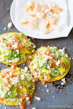 Lobster Tostadas Recipe on ASpicyPerspective.com #lobster #mexican