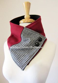 Items similar to Red Color Block Neck Warmer Scarf with Black and White Houndstooth Accent on Etsy Sewing Hacks, Sewing Crafts, Sewing Scarves, Serger Sewing, Sewing Accessories, Sewing For Beginners, Neck Warmer, Scarf Styles, Dressmaking