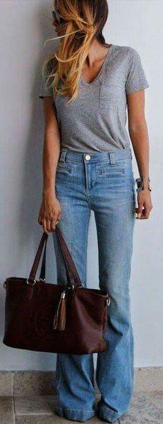 cb4e41d44a Porter un pantalon taille haute High Waisted Jeans Flare