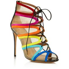 Salvatore Ferragamo Edgardo Osorio Collection Amber Rainbow Stripe... ($875) ❤ liked on Polyvore featuring shoes, heels, sapatos, bluette, mesh shoes, salvatore ferragamo, lace up shoes, laced shoes and laced up shoes
