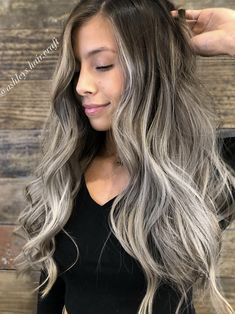 Asian Hair Balayage Ash, Ash Blonde Highlights On Dark Hair, Dark Blonde Balayage, Balayage Long Hair, Grey Blonde Hair, Hair Color Balayage, Brunette Hair, Hairstyle Ideas, Hair Ideas