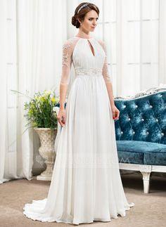 A-Line/Principessa Tondo Sweep/Spazzola treno Chiffona Tyll Abito per matrimonio con Increspature Perline Paillettes (002057489) - JJsHouse