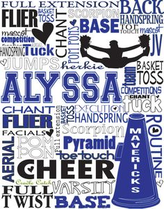 Cheerleading Personalized Typography~cute gift for Ella & Alyssa, also for bday/cheer gifts for team