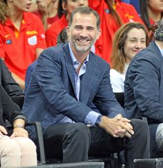 felipeandletizia:  King Felipe attended a friendly game between Spain and Argentina on August 28, 2014, ahead of the Basketball World Championships that will be held in Granada, Spain.
