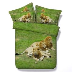 Lion comforter set 3D bedding sets quilt duvet cover bed in a bag sheet bedspread California King Queen size twin bedroom Animal #Affiliate