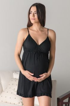 A maternity sleep dress with ruffled trim. Perfect for nursing after… A maternity sleep dress with ruffled trim. Perfect for nursing after pregnancy. Cinched under bust with front tie. Maternity Dress Outfits, Stylish Maternity, Maternity Wear, Maternity Fashion, Maternity Nursing, Pregnancy Wardrobe, Pregnancy Outfits, Pregnancy Tips, Maternity Sleepwear