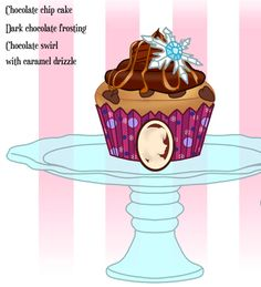 Anna's Chocolate Chip Cupcake with dark chocolate frosting and chocolate swirl with caramel drizzle