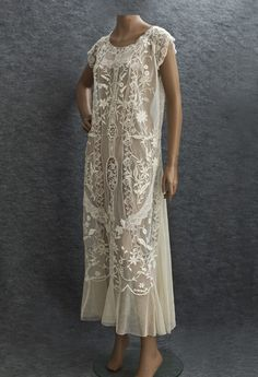 Embroidered mixed lace tea dress, c.1922